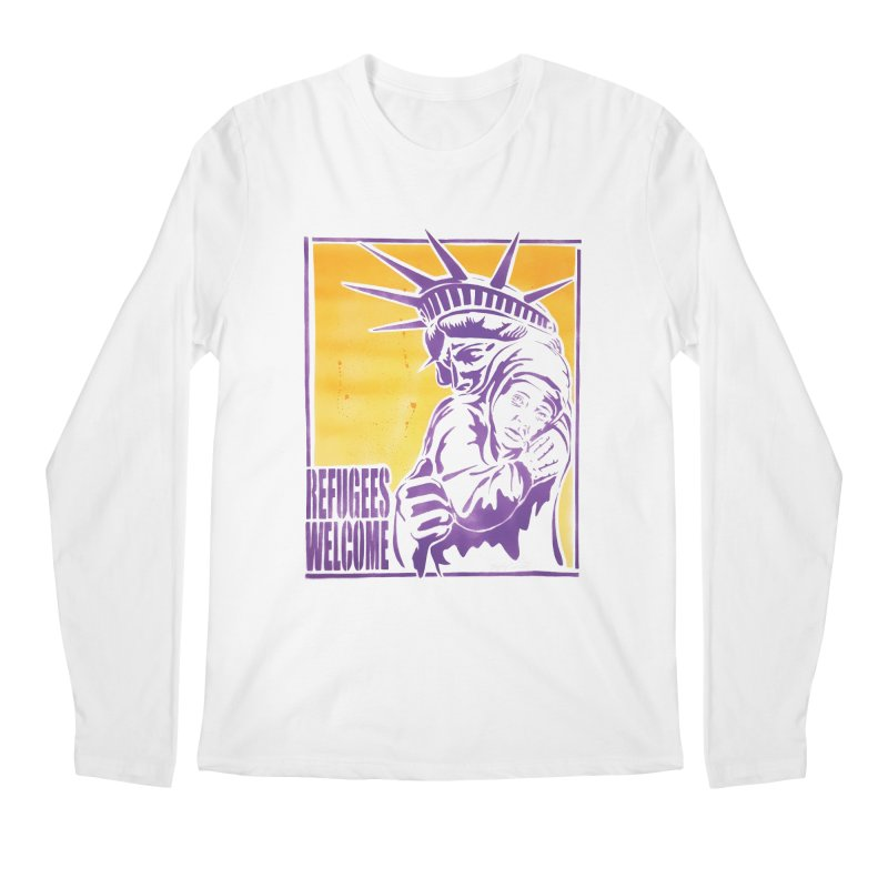 Refugees Welcome - color version Men's Longsleeve T-Shirt by StencilActiv's Shop