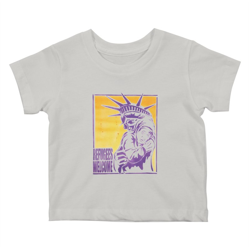 Refugees Welcome - color version Kids Baby T-Shirt by StencilActiv's Shop