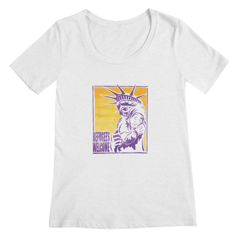 Refugees Welcome - color version Women's Scoopneck by StencilActiv's Shop