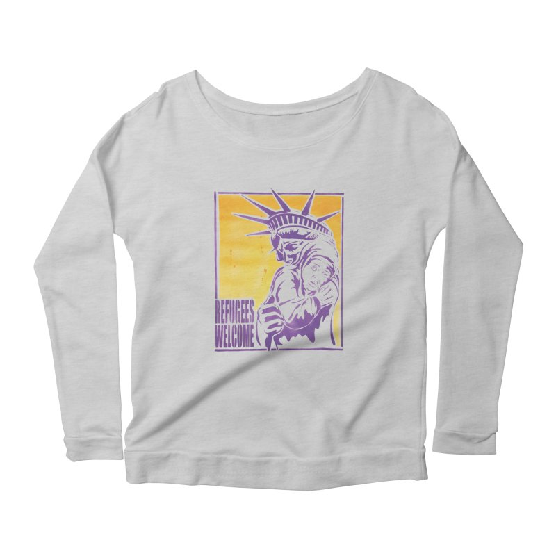 Refugees Welcome - color version Women's Longsleeve Scoopneck  by StencilActiv's Shop