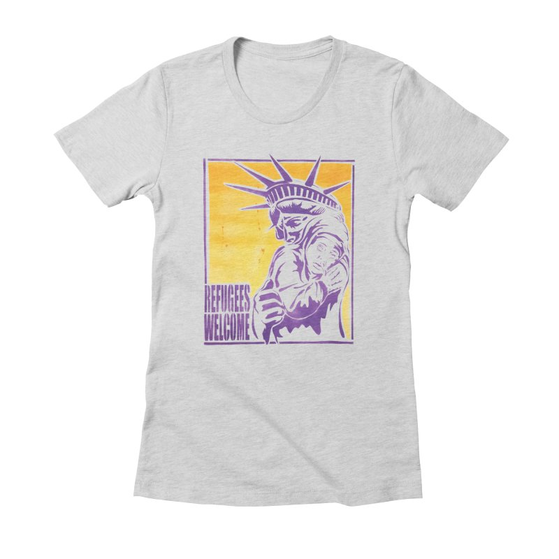 Refugees Welcome - color version Women's Fitted T-Shirt by StencilActiv's Shop