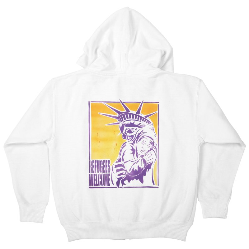 Refugees Welcome - color version Kids Zip-Up Hoody by StencilActiv's Shop
