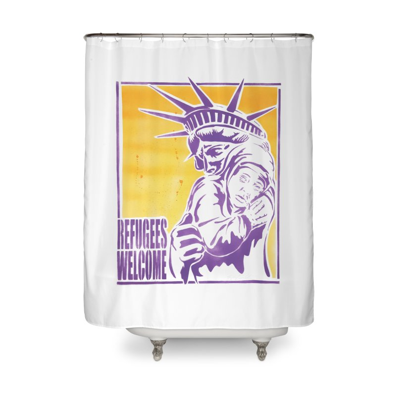 Refugees Welcome - color version Home Shower Curtain by StencilActiv's Shop