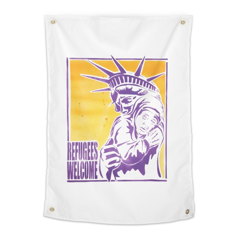 Refugees Welcome - color version Home Tapestry by StencilActiv's Shop