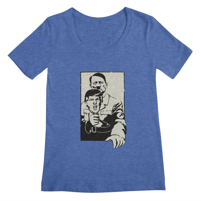 Hitler with Trump mask (based on 1968 Paris Riots Poster) Women's Scoopneck by StencilActiv's Shop