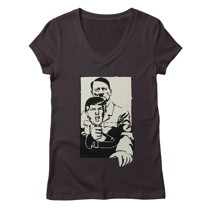 Hitler with Trump mask (based on 1968 Paris Riots Poster) Women's V-Neck by StencilActiv's Shop