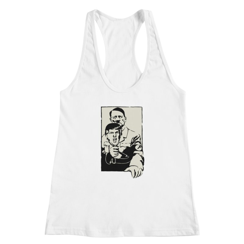 Hitler with Trump mask (based on 1968 Paris Riots Poster) Women's Racerback Tank by StencilActiv's Shop