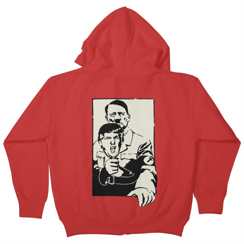Hitler with Trump mask (based on 1968 Paris Riots Poster) Kids Zip-Up Hoody by StencilActiv's Shop