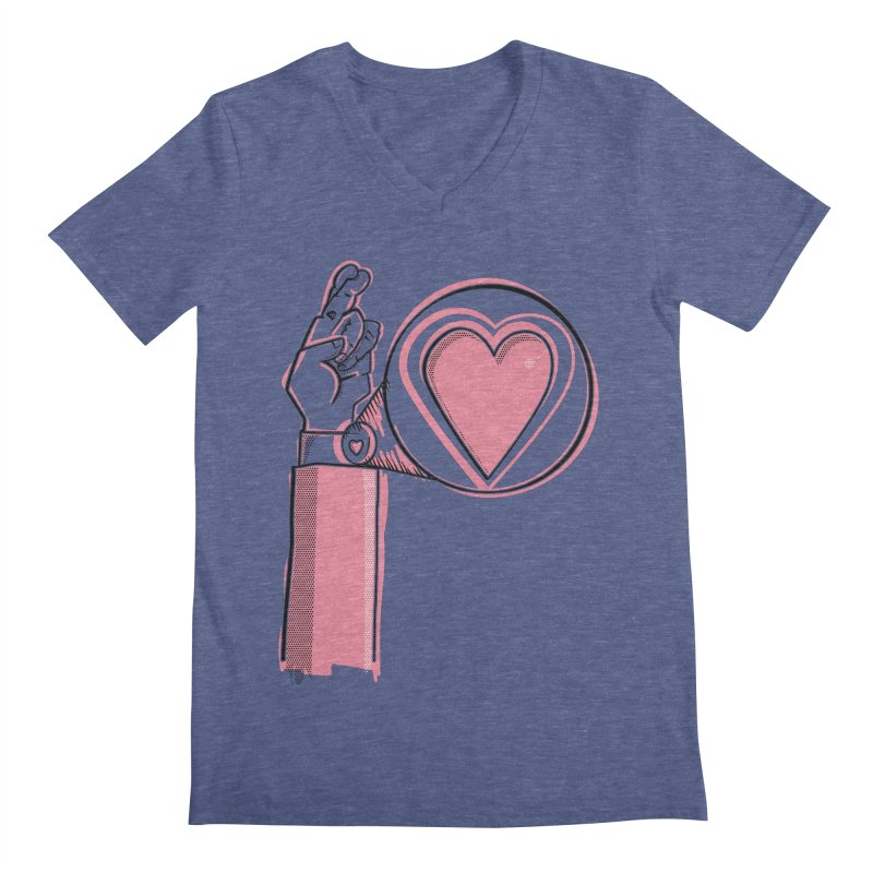 Heart on you sleeve Men's V-Neck by Stephen Harris Designs