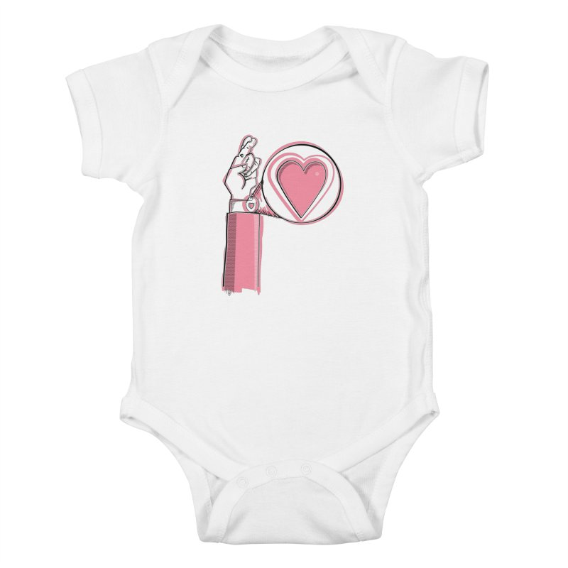 Heart on you sleeve Kids Baby Bodysuit by Stephen Harris Designs