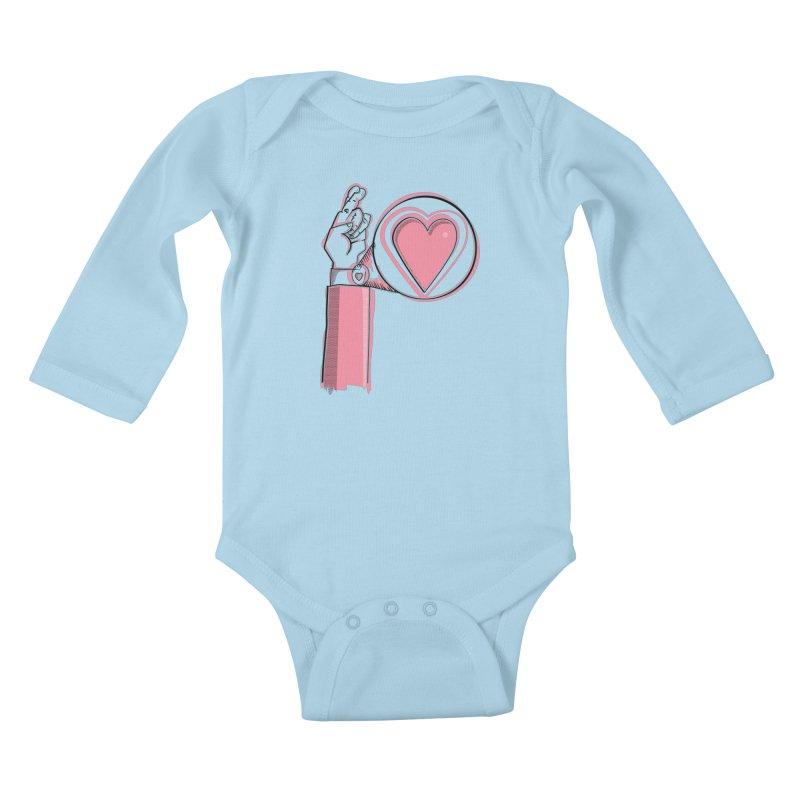 Heart on you sleeve Kids Baby Longsleeve Bodysuit by Stephen Harris Designs