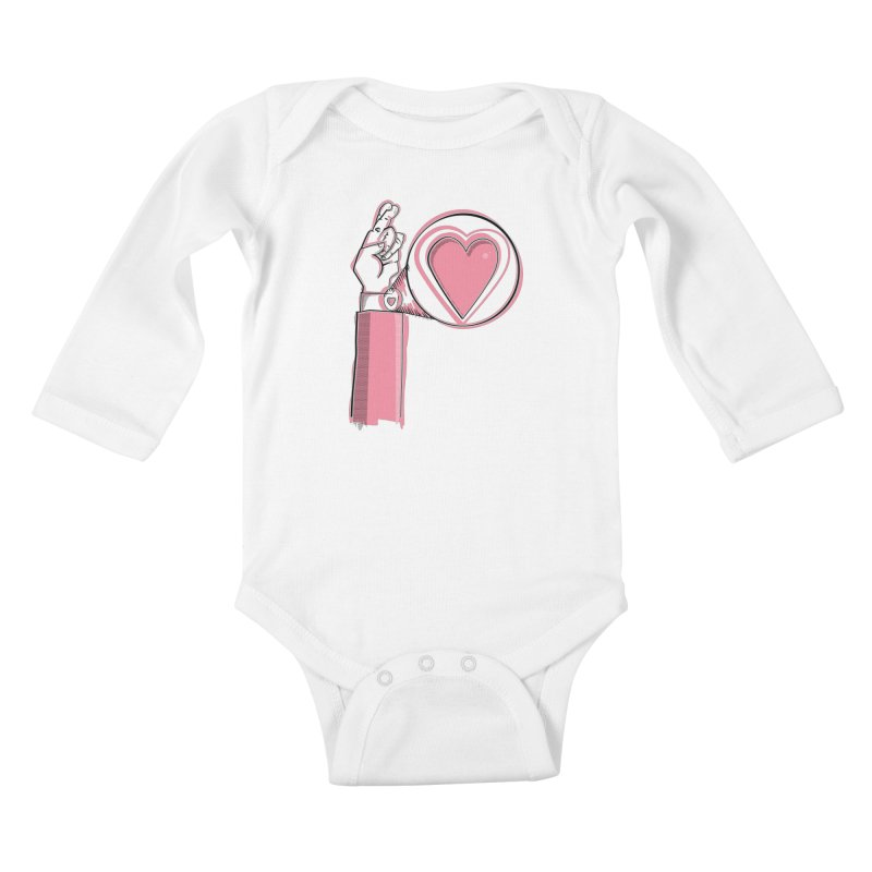 Heart on you sleeve Kids Baby Longsleeve Bodysuit by Stephen Harris Designs