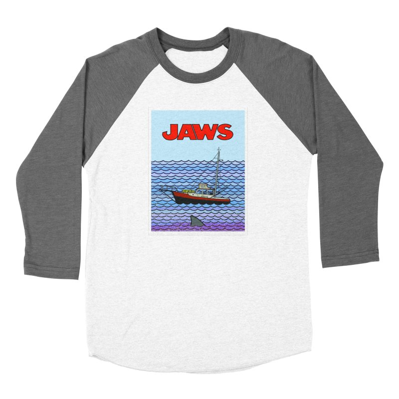 Jaws Women's Baseball Triblend Longsleeve T-Shirt by Steven Compton's Artist Shop