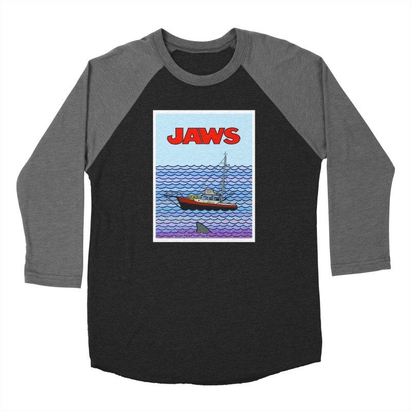 Jaws Men's Baseball Triblend Longsleeve T-Shirt by Steven Compton's Artist Shop