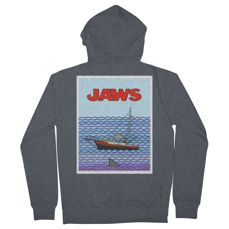 Jaws Women's French Terry Zip-Up Hoody by Steven Compton's Artist Shop