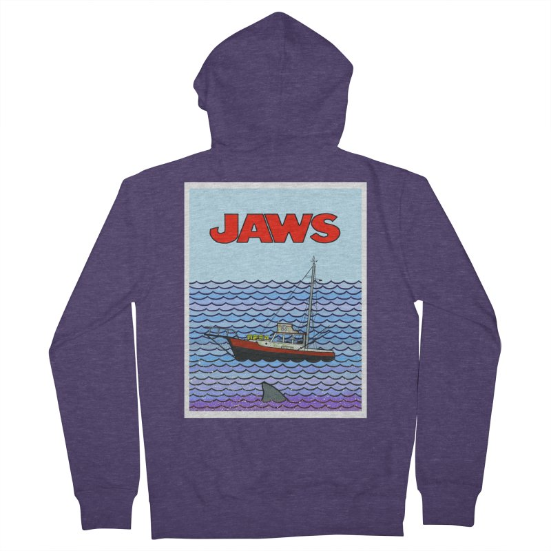 Jaws Men's Zip-Up Hoody by Steven Compton's Artist Shop