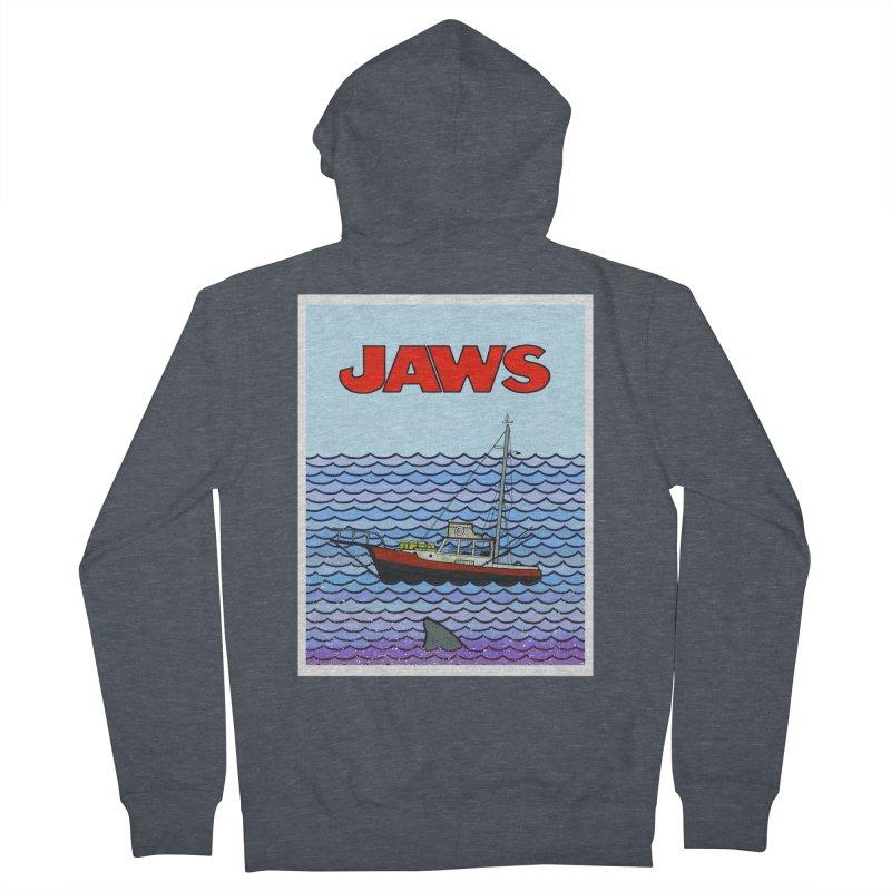 Jaws Men's Zip-Up Hoody by Steven Compton's Artist Shop