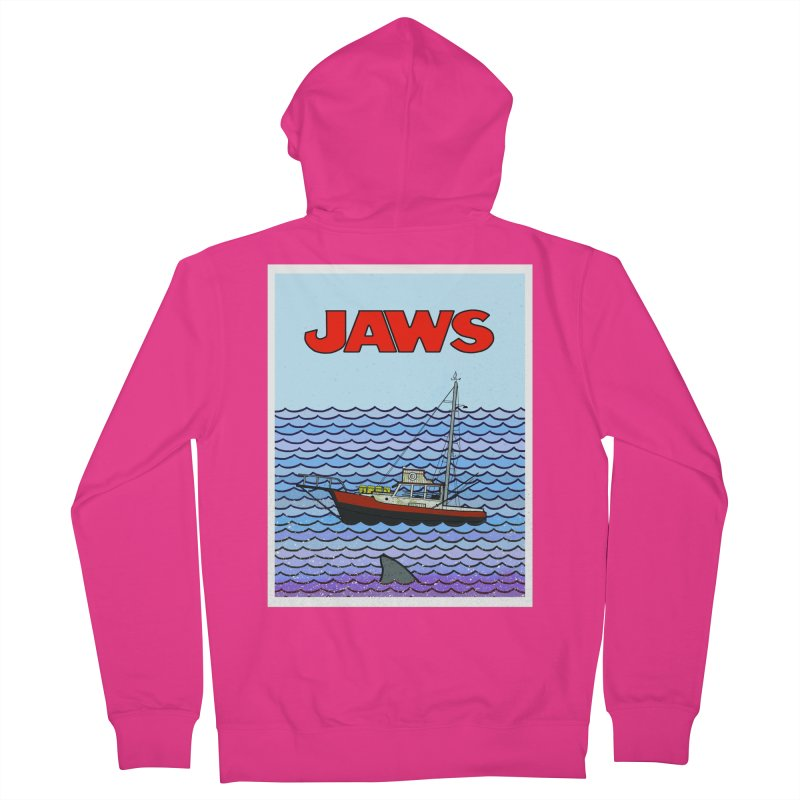 Jaws Men's French Terry Zip-Up Hoody by Steven Compton's Artist Shop