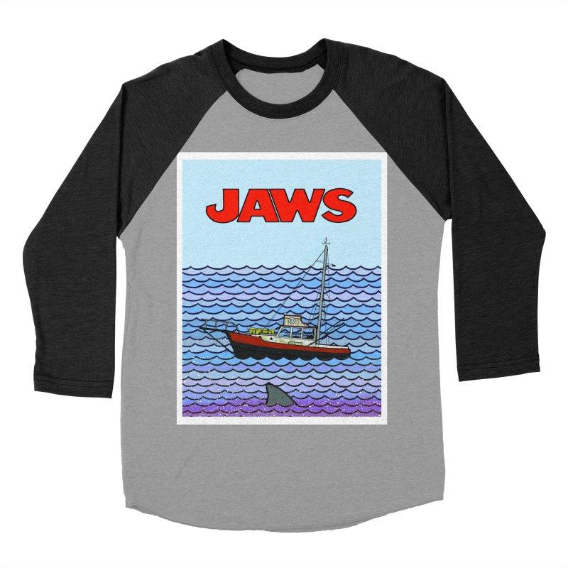 Jaws Women's Baseball Triblend Longsleeve T-Shirt by Steven Compton's Artist Shop