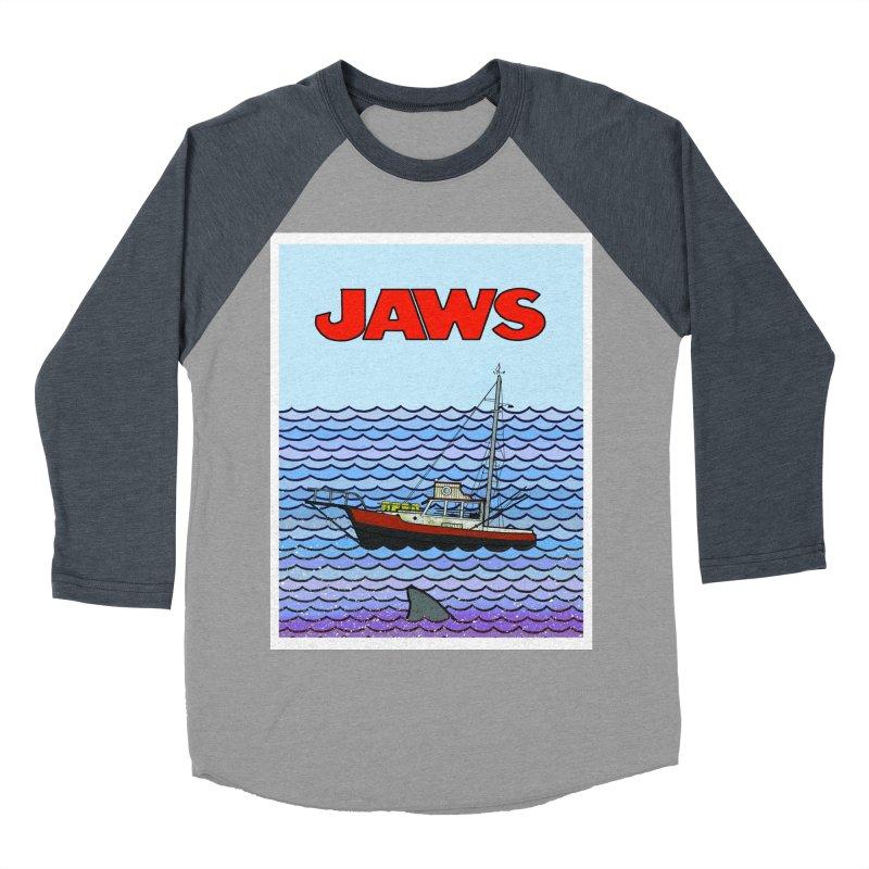 Jaws Men's Baseball Triblend T-Shirt by Steven Compton's Artist Shop