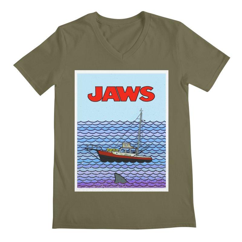 Jaws Men's V-Neck by Steven Compton's Artist Shop