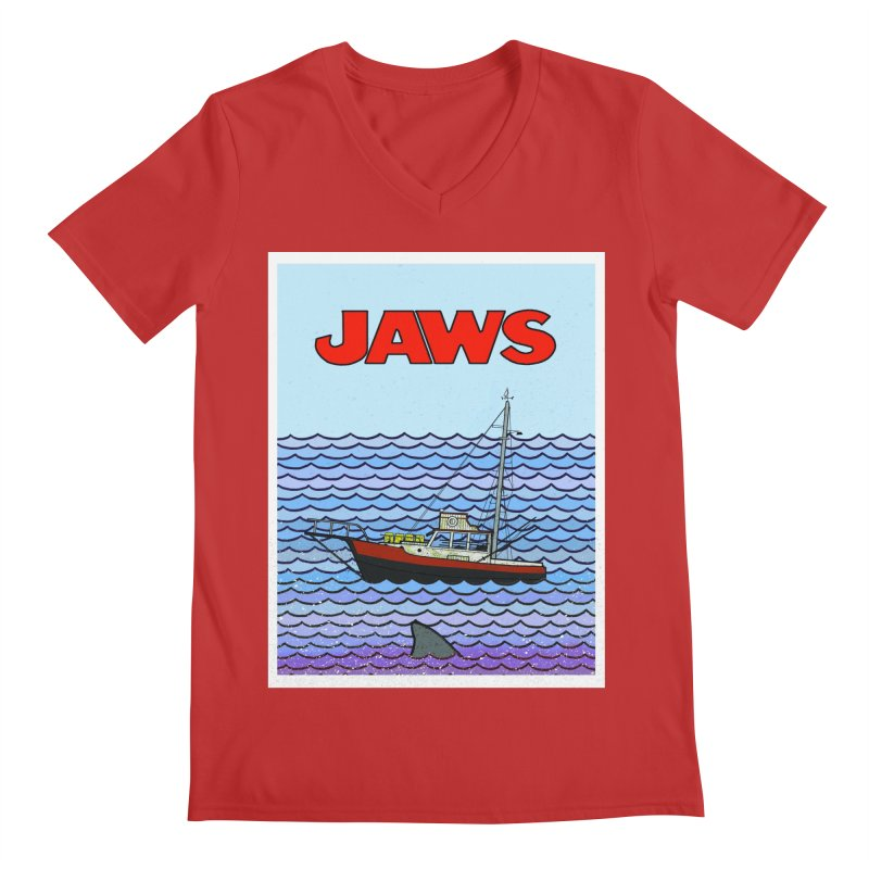 Jaws Men's Regular V-Neck by Steven Compton's Artist Shop