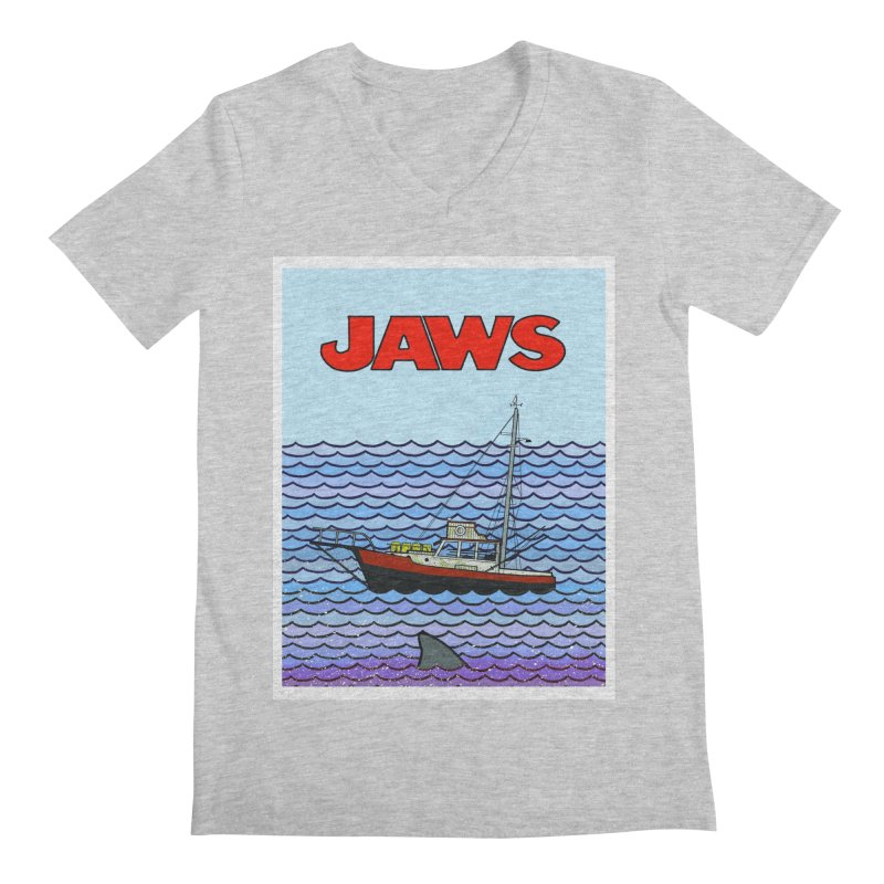 Jaws Men's Regular V-Neck by Steven Compton's Artist Shop