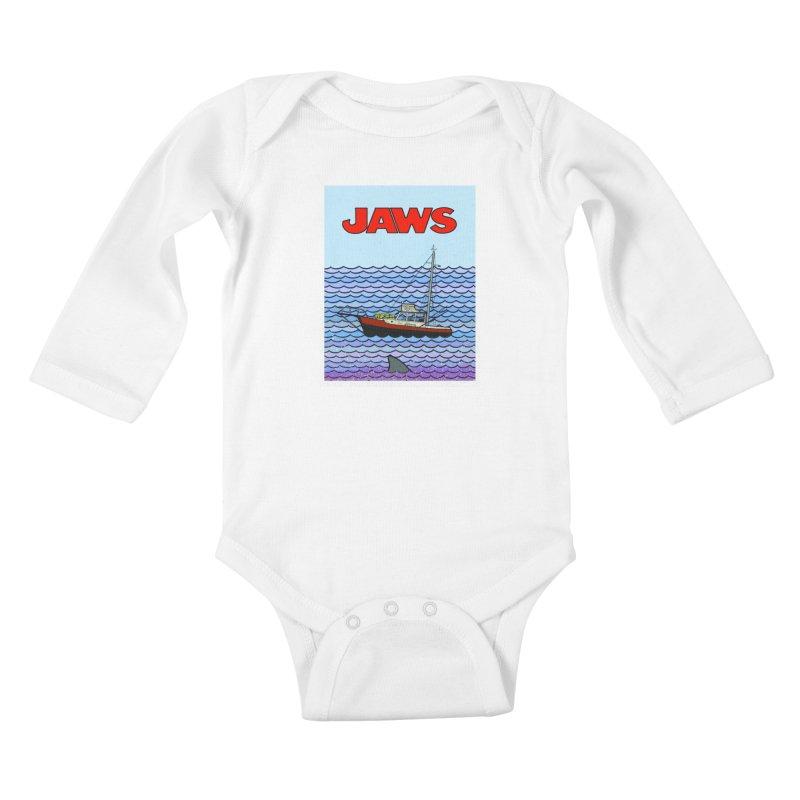 Jaws Kids Baby Longsleeve Bodysuit by Steven Compton's Artist Shop