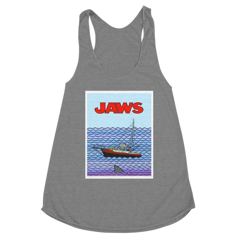 Jaws Women's Racerback Triblend Tank by Steven Compton's Artist Shop