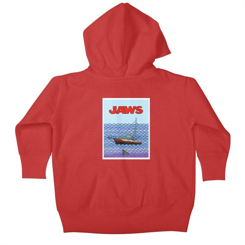 Jaws Kids Baby Zip-Up Hoody by Steven Compton's Artist Shop