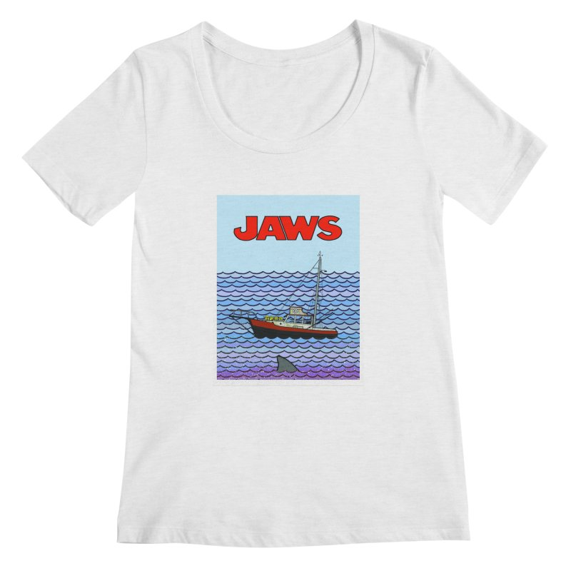 Jaws Women's Regular Scoop Neck by Steven Compton's Artist Shop