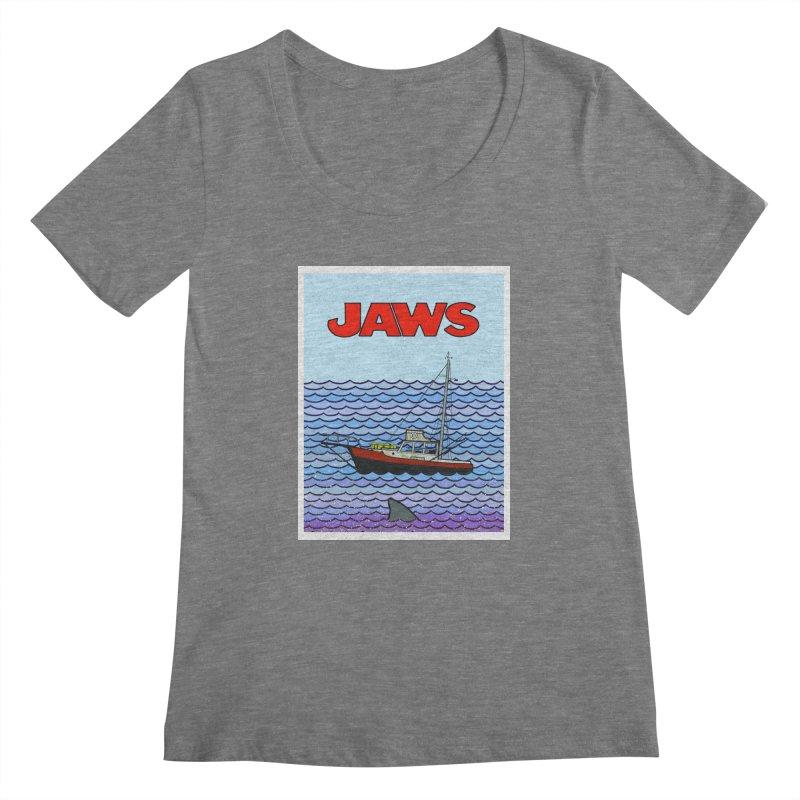 Jaws Women's Scoopneck by Steven Compton's Artist Shop