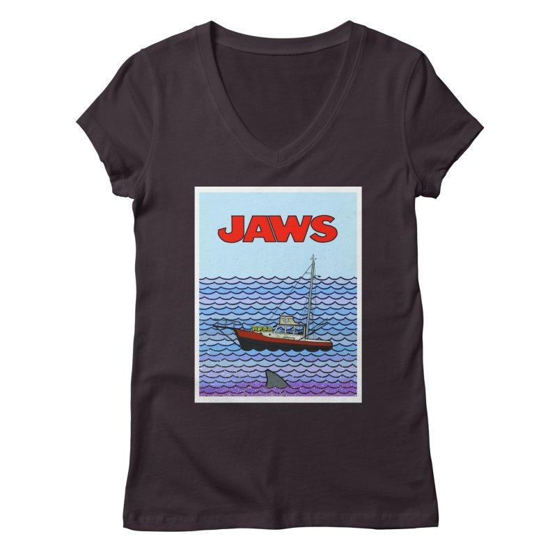 Jaws Women's V-Neck by Steven Compton's Artist Shop