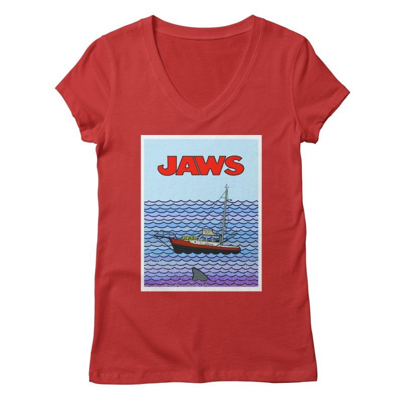 Jaws Women's Regular V-Neck by Steven Compton's Artist Shop