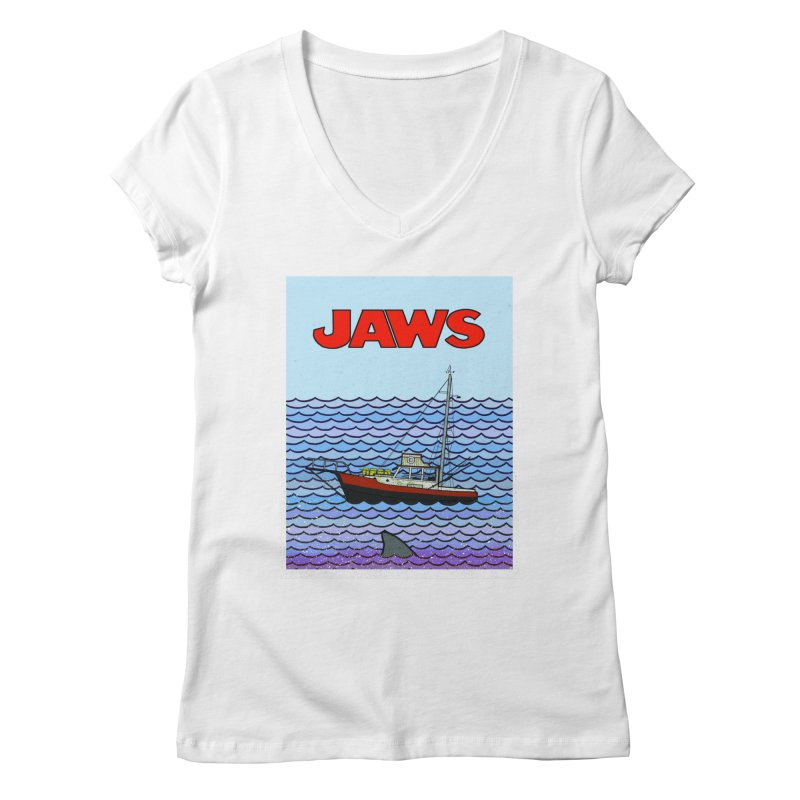 Jaws Women's Regular V-Neck by Steven Compton's Artist Shop