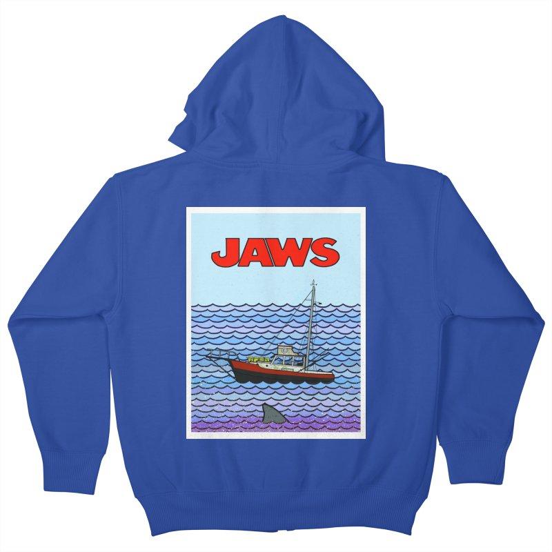 Jaws Kids Zip-Up Hoody by Steven Compton's Artist Shop