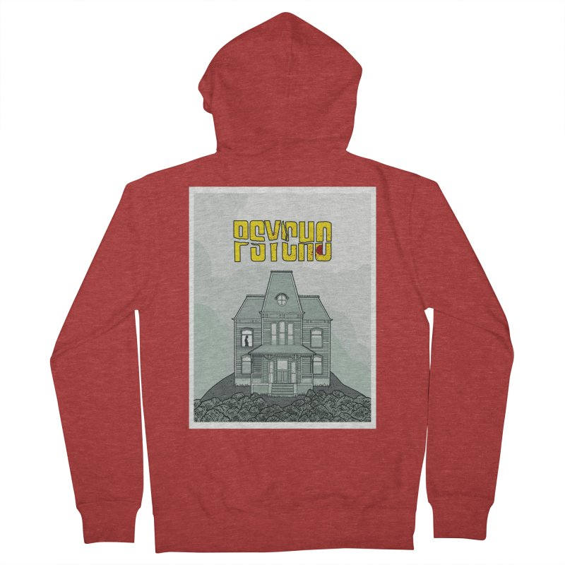 Psycho Men's French Terry Zip-Up Hoody by Steven Compton's Artist Shop