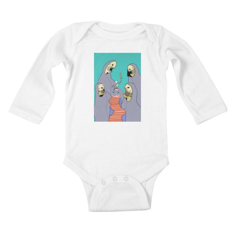 Future Space Kids Baby Longsleeve Bodysuit by Steven Compton's Artist Shop