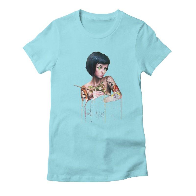 Off-color Clara Women's Fitted T-Shirt by Stevenbossler's Artist Shop