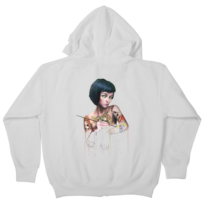 Off-color Clara Kids Zip-Up Hoody by Stevenbossler's Artist Shop