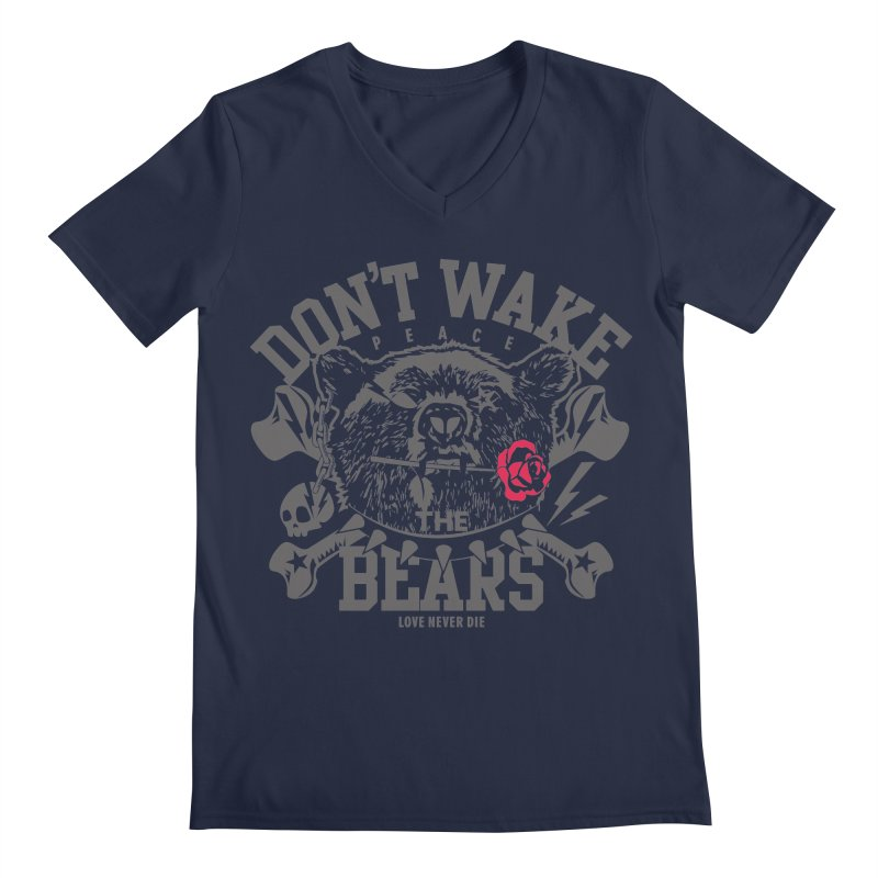 Rock the Bear Men's Regular V-Neck by Stor's Artist Shop