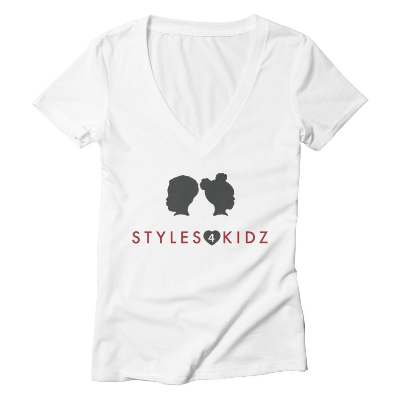 Styles 4 Kidz - White Women's Deep V-Neck V-Neck by STYLES 4 KIDZ, NFP