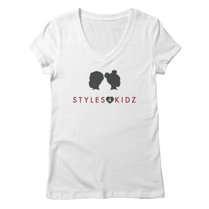 Styles 4 Kidz - White Women's Regular V-Neck by STYLES 4 KIDZ, NFP