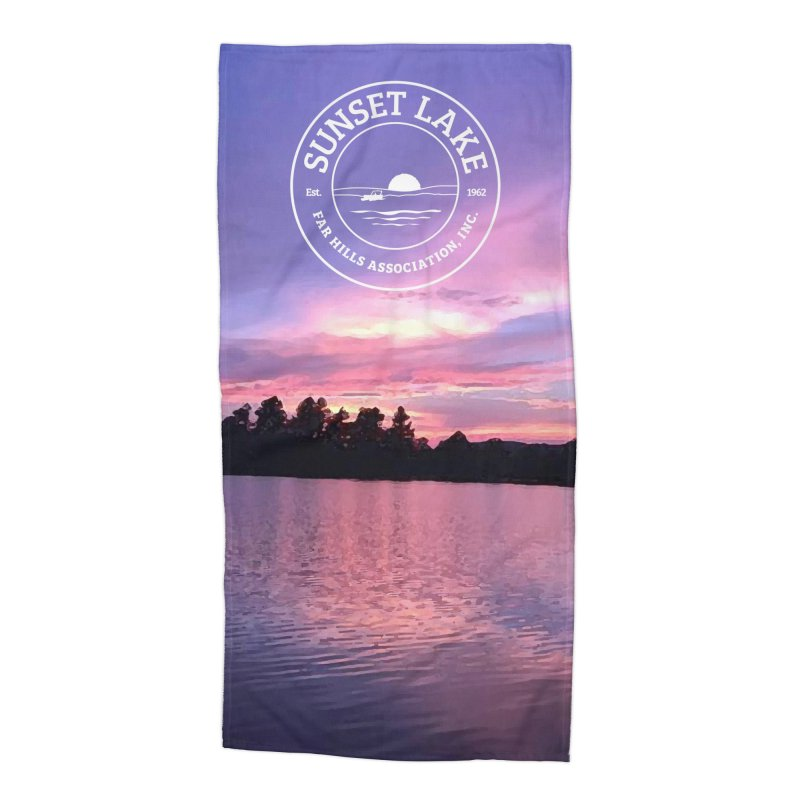 Purple Sunset: Beach Towel Accessories Beach Towel by Sunset Lake Swag