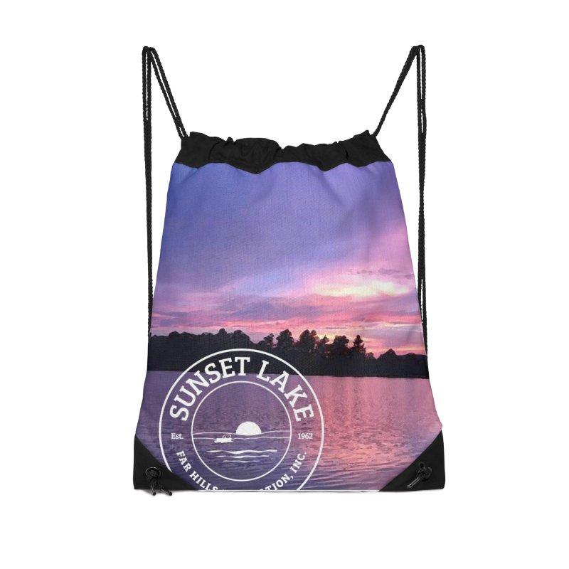 Purple Sunset Design Accessories Drawstring Bag Bag by Sunset Lake Swag