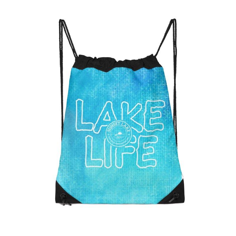 Lake Life #1 Accessories Drawstring Bag Bag by Sunset Lake Swag