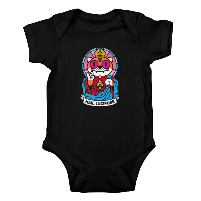 Hail Lucipurr Kids Baby Bodysuit by SuperHappyMagic