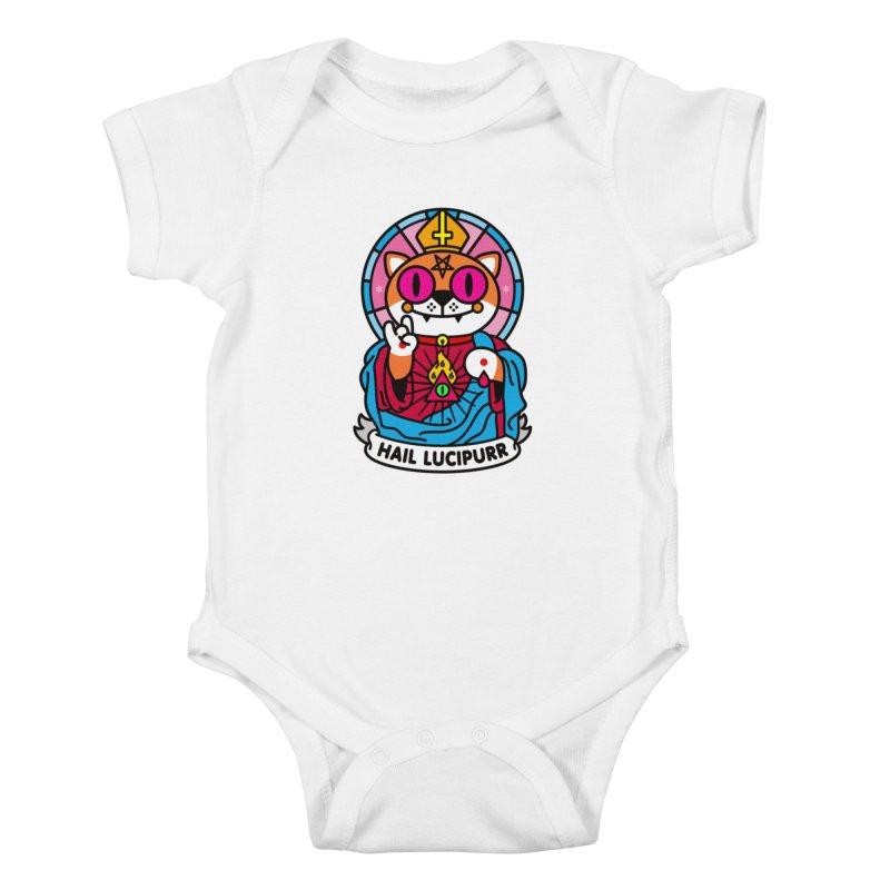 Hail Lucipurr Kids Baby Bodysuit by SuperHappyMagic