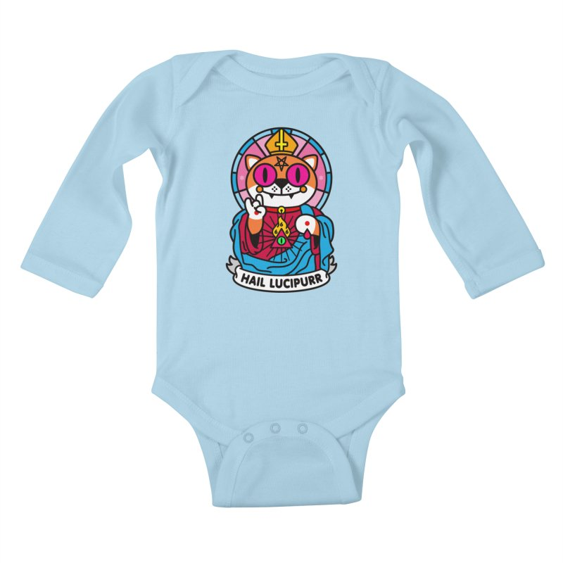 Hail Lucipurr Kids Baby Longsleeve Bodysuit by StudioDelme