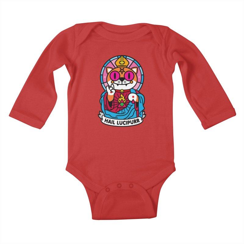 Hail Lucipurr Kids Baby Longsleeve Bodysuit by SuperHappyMagic